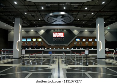 Bangkok, Thailand - July 8, 2018: Ticket Counter Inside of The Marvel Experience Thailand