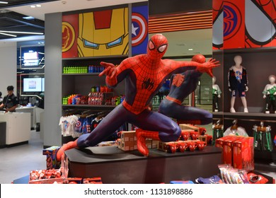 Bangkok, Thailand - July 8, 2018: Human Size Spiderman Statue Displays at The Marvel Experience Thailand Building