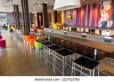 Bangkok, Thailand - July, 8 ,2018 : Inside McDonald's restaurant in Bangkok, Thailand.McDonald's is an American hamburger and fast food restaurant.