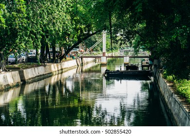 Bangkok, Thailand - July 9, 2016: Classic view of canal in old town in Bangkok in the morning.