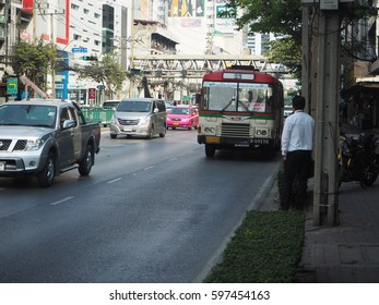 BANGKOK, THAILAND - JULY 9, 2017: Public transport bus at bus stop on Petchburi Road