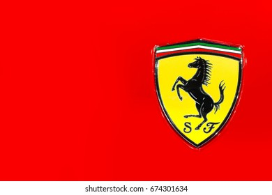 Bangkok, Thailand - July 9, 2017 : Logo of Ferrari sports car in Motor expo.