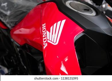 Bangkok, Thailand - July 9, 2018 : Close up of a Honda logo on a motorbike at Pratunam