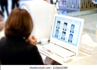 Bangkok, Thailand - July 9, 2018:visia skin analyzer or Surface tunnel.analyze Skin and wrinkles of women. Skin examination The results of screening through the computer screen.at Beauty Clinic
