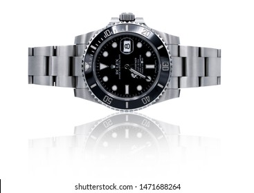 BANGKOK, THAILAND - July 9, 2019: Rolex Submariner watch is equipped with a ceramic bezel.(Focus on ROLEX logo, Clipping path included)