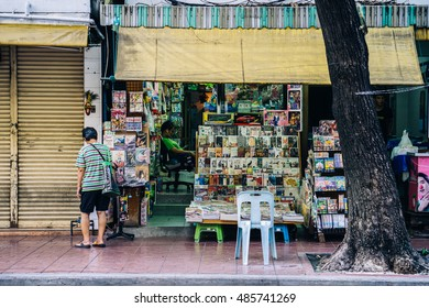 BANGKOK THAILAND - JULY 9: View of bookstall in the morning time in Bangkok, on  July 9, 2016 in Bangkok, Thailand.