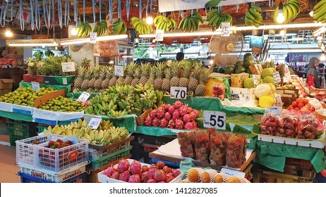 BANGKOK, THAILAND - JUN 1: Tropical thai fruits sell at Or Tor Kor market in Bangkok, Thailand on June 1, 2019. Or Tor Kor is one of the biggest food market in Bangkok.