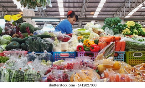 BANGKOK, THAILAND - JUN 1: Tropical thai fruits sell at Or Tor Kor market in Bangkok, Thailand on June 1, 2019. Or Tor Kor is one of the biggest food market in Bangkok.