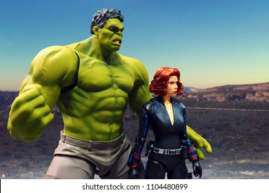 Bangkok, Thailand - Jun 1,2018 - Bandai, Japanese Toy manufacturer, launch action figure series S.H.Figuarts based on famous Marvel's characters Hulk and Black Widow