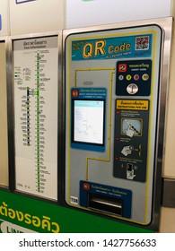 Bangkok, Thailand - JUN 15, 2019 : BTS ticket machine at National Stadium BTS station.Ticket machine.Electric train.