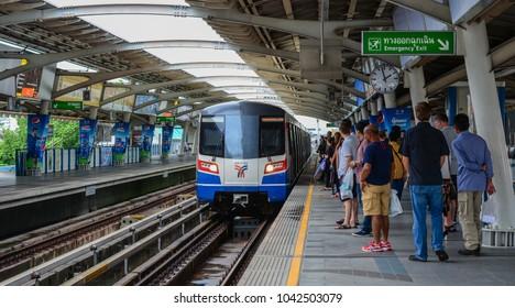 Bangkok, Thailand - Jun 17, 2016. A train stopping at BTS Station in Bangkok, Thailand. BTS or Skytrain is one of the most convenient methods to travel around Bangkok.