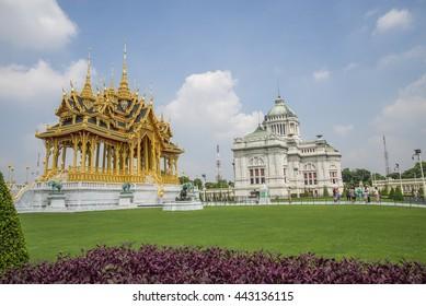 Bangkok Thailand Jun 18 2016 Ananta Samakhom Throne Hall and Borommangalanusarani Pavilion, the art of kingdom, Bangkok, Thailand