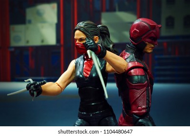 Bangkok, Thailand - Jun 2,2018 - Bandai, Japanese Toy manufacturer, launch action figure series S.H.Figuarts based on famous Marvel's characters Electra and Daredevil.