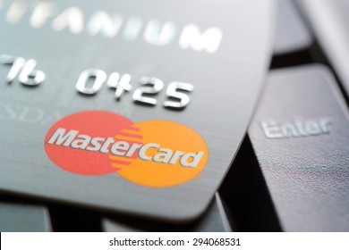 Bangkok, Thailand - Jun 23, 2015 :Credit card with MasterCard logo on computer keyboard. MasterCard is an American multinational financial services corporation headquartered in New York, United States