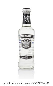 BANGKOK, THAILAND - Jun 28, 2015 : A single bottle of Smirnoff Black Ice. Established around 1860 in Moscow by Pyotr Arsenievich Smirnoff and is now owned and produced by Diageo from UK.