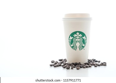 BANGKOK, THAILAND - JUN 5, 2018: White coffee cup with Starbucks logo isolated on white background. Starbucks is the world's largest coffee house with over 20,000 stores in 61 countries.