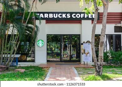 Bangkok / Thailand - Jun 6 , 2018 : Shop front of Starbucks coffee at Thammasat University Rangsit Center Thailand.