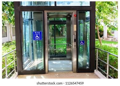 Bangkok / Thailand - Jun 6 , 2018 : Elevator (lift) for people with disabilities at Thammasat University Rangsit Center Thailand.