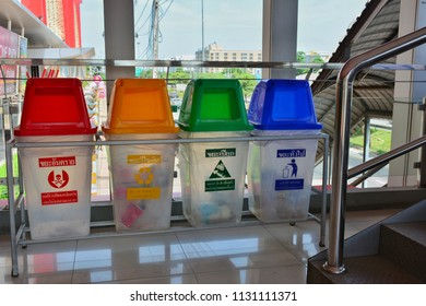 Bangkok / Thailand - Jun 6 , 2018 : Color code trash bins and recycling bin for waste. Can use for waste management concept