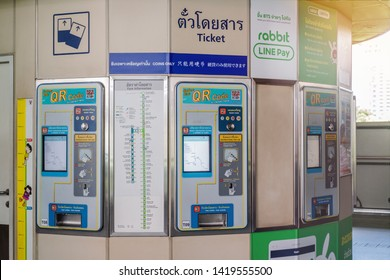 BANGKOK, THAILAND - JUN 9 : BTS ticket machine at Mo-Chit station on June 9, 2019 in Bangkok. BTS Route has been designed to help people discover Bangkok easily.