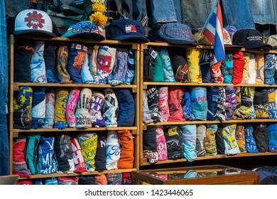 BANGKOK, THAILAND - JUN 9 : T-shirt shop at Chatuchak Market on june 9, 2019 in Bangkok, Thailand. Chatuchak Market is the largest market in Thailand.
