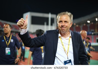 BANGKOK THAILAND JUN13: Milovan Rajevac of Thailand in action during the 2018 FIFA World Cup Asian Qualifiers  Thailand and United Arab Emirates at Rajamangala Stadium on June 13,2017 in Thailand.