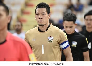 BANGKOK THAILAND JUN13:kawin thamsatchanan of Thailand in action during the 2018 FIFA World Cup Asian Qualifiers Thailand and United Arab Emirates at Rajamangala Stadium on June 13,2017 in Thailand.