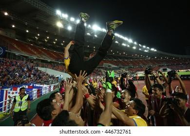 BANGKOK THAILAND JUN5 2015 :Kiatisuk Senamuang of Thailand celebrates winning during the King's Cup 2016 Match between Thailand and Jordan at Rajamangala Stadium on June 5,2016 in Thailand.