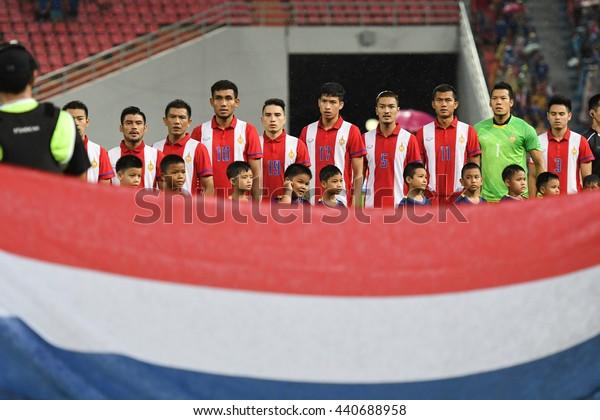BANGKOK THAILAND JUN5 2015 :Players of Thailand pose during the King's Cup 2016 Match between Thailand and Jordan at Rajamangala Stadium on June 5,2016 in Thailand.