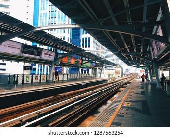 BANGKOK, THAILAND - June 01 2018: Bangkok BTS Skytrain at a Nana station.