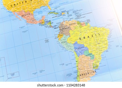Bangkok, Thailand - JUNE 02, 2018: Political Map of South America Continent