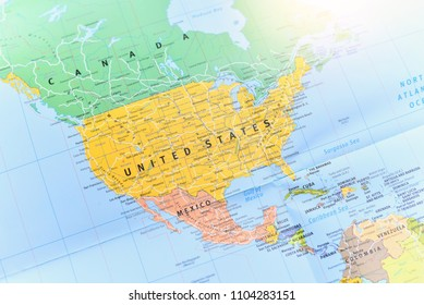 Bangkok, Thailand - JUNE 02, 2018: Political Map of the United States of America