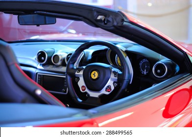 BANGKOK, THAILAND - JUNE 03, 2015: Details of a Ferrari car. Ferrari is an Italian luxury sports car.