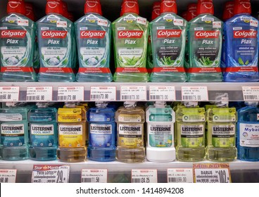 BANGKOK, THAILAND - JUNE 03: Colgate and Listerine mouth wash fully available on the retail shelves of Foodland Supermarket in Bangkok on June 03, 2019.
