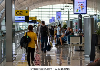 BANGKOK, THAILAND - JUNE 07 2020: Passengers at Suvarnabhumi Airport wait to board a flight to London. The flight arrives a few hours before mandatory quarantine is introduced for UK arrivals.