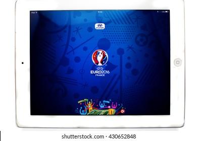 Bangkok, Thailand - June 1, 2016: Official application of 2016 UEFA Euro France on Ipad isolated on white background.