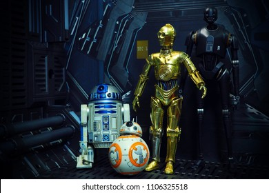 BANGKOK, THAILAND - JUNE 1, 2018: The famous robot characters R2D2, BB8, C3PO, and K-2SO from Star Wars film series
