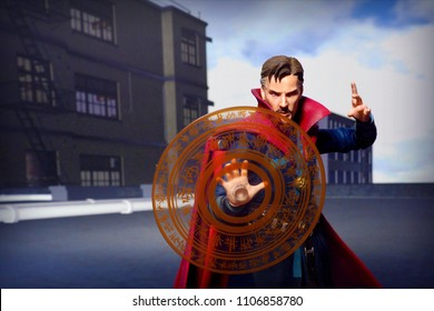 BANGKOK, THAILAND - JUNE 1, 2018: Dr. Strange action figures from famous Marvel Comics performing his magical spell.