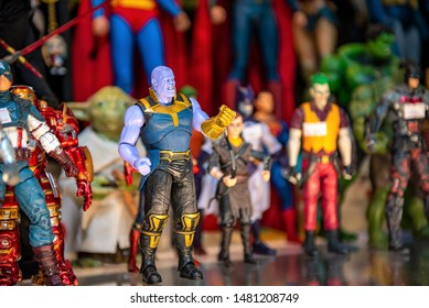 BANGKOK, THAILAND - JUNE 1, 2019 : Various models of superhero from the movies and cartoon animate, selective focus at Thanos for sale on the front shop at Bangkok, Thailand.