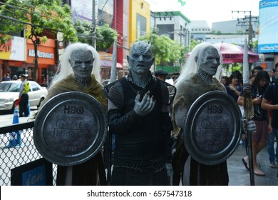 Bangkok, Thailand - June 10, 2017: The Night King (Night's King) the leader of the White Walkers Cosplay from the series Game of Thrones Present in Bangkok