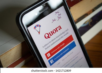 Bangkok, Thailand - June 10, 2019 : iPhone 7 showing its screen with Quora application.