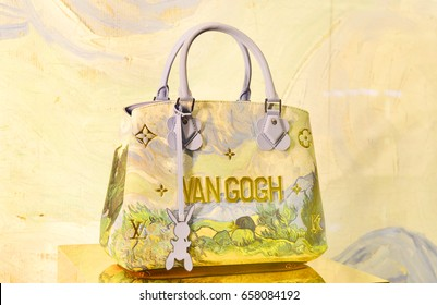 BANGKOK -THAILAND: June 10,2017: The new collection of Masters of Louis Vuitton inspired by the painting of van gogh by Artist Jeff Koons display at Siam Paragon shopping mall in Bangkok