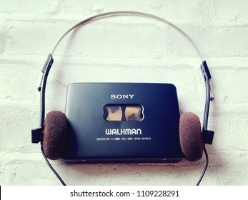 BANGKOK, THAILAND - JUNE 10,2018: Sony Walkman  From Sony Company Made in Japan.