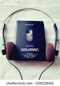 BANGKOK, THAILAND - JUNE 10,2018: Sony Walkman  From Sony Company Made in Japan.