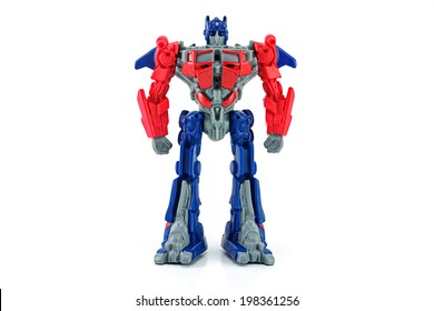 BANGKOK, THAILAND - June 11, 2014 : Optimus Prime toy character from TRANSFORMERS Movie. There are toy sold as part of McDonald's Happy meal.