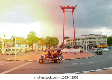 BANGKOK, THAILAND - JUNE 11, 2016 : The Giant Swing and Wat Suthat Temple in beautiful sunset.