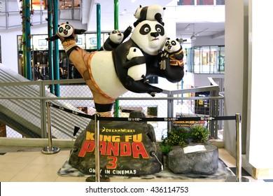 Bangkok, Thailand - June 11, 2016: Kung Fu Panda 3 model display at the Siam Square One Shopping Center.