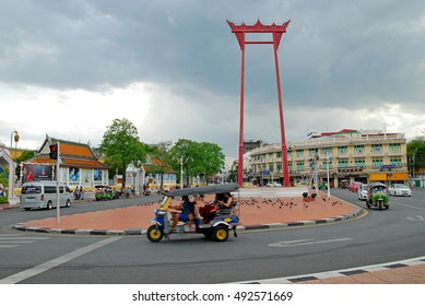 BANGKOK, THAILAND - JUNE 11, 2016 : The Giant Swing and Wat Suthat Temple Bangkok, Thailand.