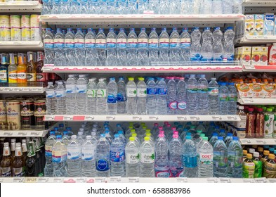 BANGKOK, THAILAND - JUNE 11, 2017: Drinking water on shelves at Maxvalu supermarket, MaxValu is a Japanese retail store chain.