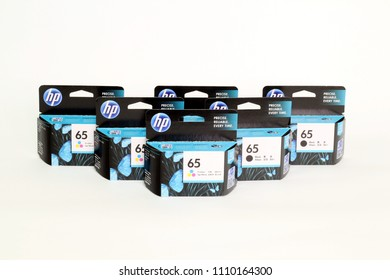 BANGKOK, THAILAND- June 11, 2018 : Ink display at a local retail location in Thailand. Canon Inkjet Printer Cartridges and Ink Supplies, HP 65 Black and Color, Ues for Printer DeskJet HP 2220